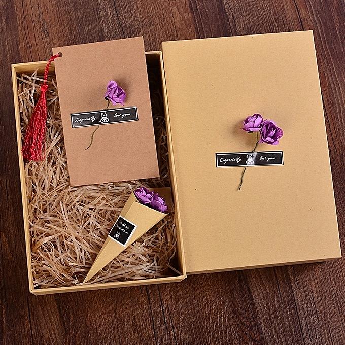Cowhide Purple Rose Black LafiaDIY Birthday Gift Box Exquisite Art Small