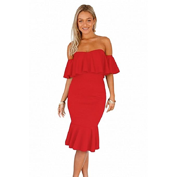 f5b24cccd85 Generic Red Ruffle Off Shoulder Mermaid Midi Party Dress   Best ...
