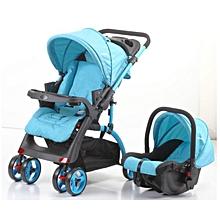 2-in-1 Baby Stroller-cum-Infant Car Seat - Blue