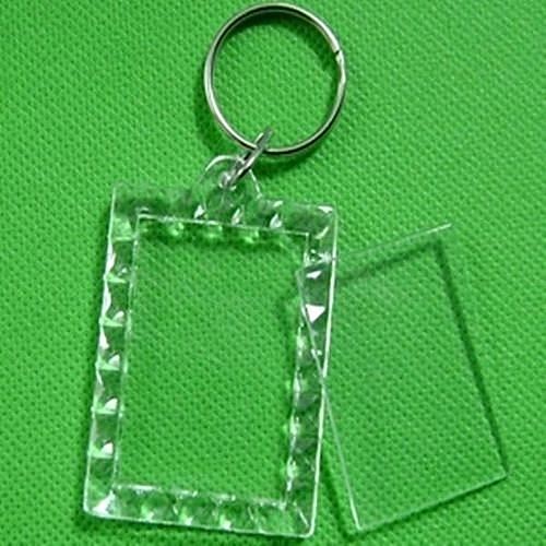 1/5/10X Transparent Blank Keyring Insert Photo Picture Frame Split Keychain Ring