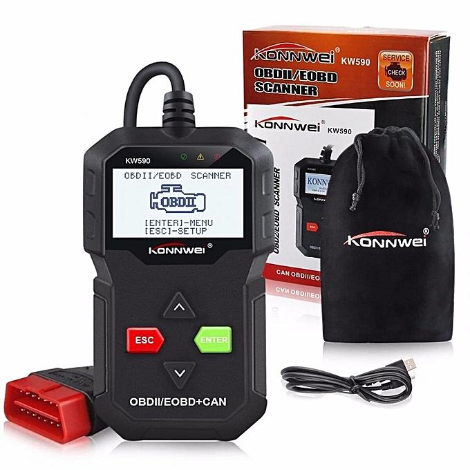OBD II Code Reader KW590 OBD2 Car Diagnostic Scanner with Multi-languages  Full OBD EOBD Functions WWD