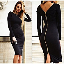 Sexy back with zip long knit knee-length dress