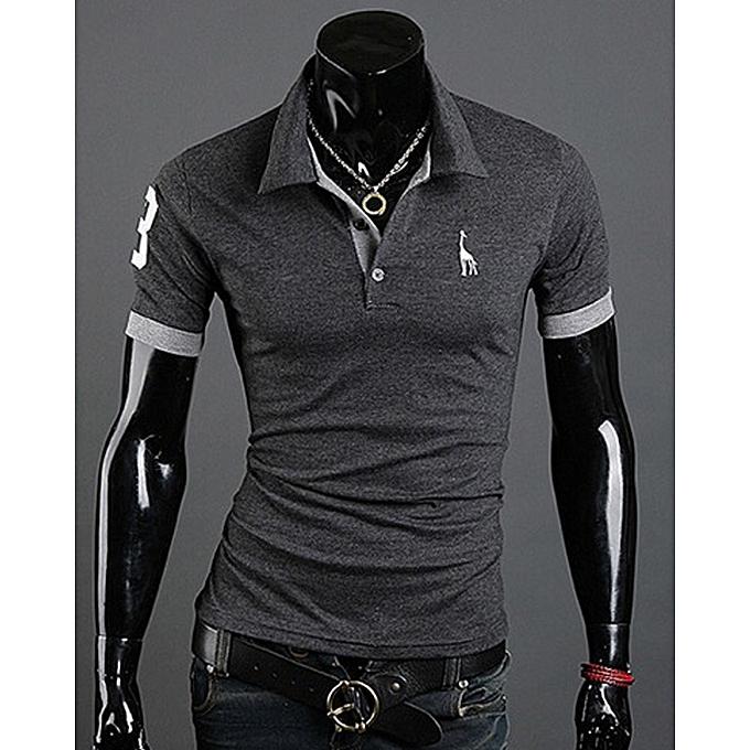 398b12f83bb Summer Fawn Print Trend Men s T-Shirt Fashion Business Casual Short Sleeve Polo  Shirt-