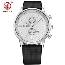 OHSEN Quartz Mens Watch Business Wristwatch Waterproof PU Band Dress Watch Men Relogios Montre Homme