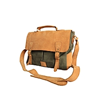 Mens Full Leather/Canvas Laptop Bag