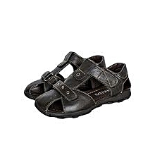 Black Closed Toe Sandals With Velcro Straps