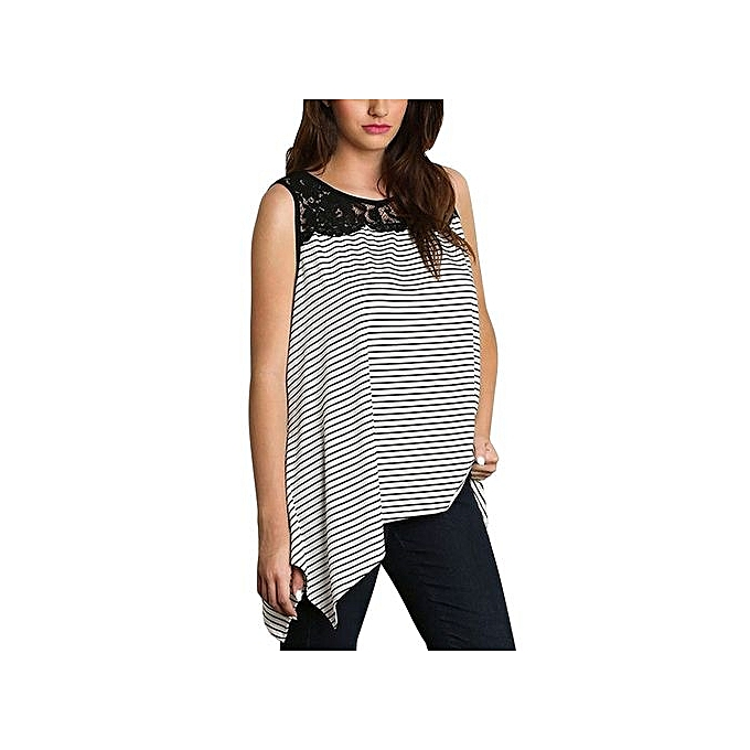 df5b5cc9dbd59d Women Loose Plus Size Striped Lace Splice Vest Tank Tops Casual Blouse T- Shirt ...