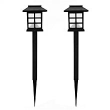 CO 2Pcs Outdoor Garden Path Waterproof Solar Powered Light House Shape Lawn Lamp-black