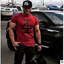 Refined Cool Guys Gym Number Print Slim Elastic T-shirt Men Bodybuilding Stringer Tops Fitness Clothes-Red
