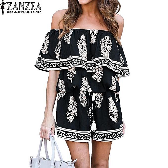 7bae11b7a709 ZANZEA Plus Size ZANZEA Ruffle Off Shoulder Slash Neck Short Playsuits  Rayon Women Boho Floral Print Summer Loose Jumpsuit Romper (Black)