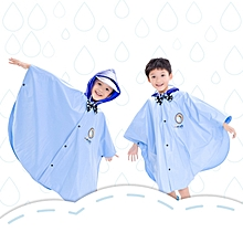 Age Above 3 Kids British Style Cartoon Reusable Cloak Raincoat Hoodies(Blue XXL)