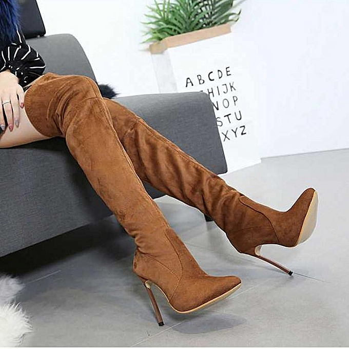 35c68b8517b Fashion Chic Women Suede High Stilettos Heel Over Knee Boots Pointed Toe  Warm Shoes