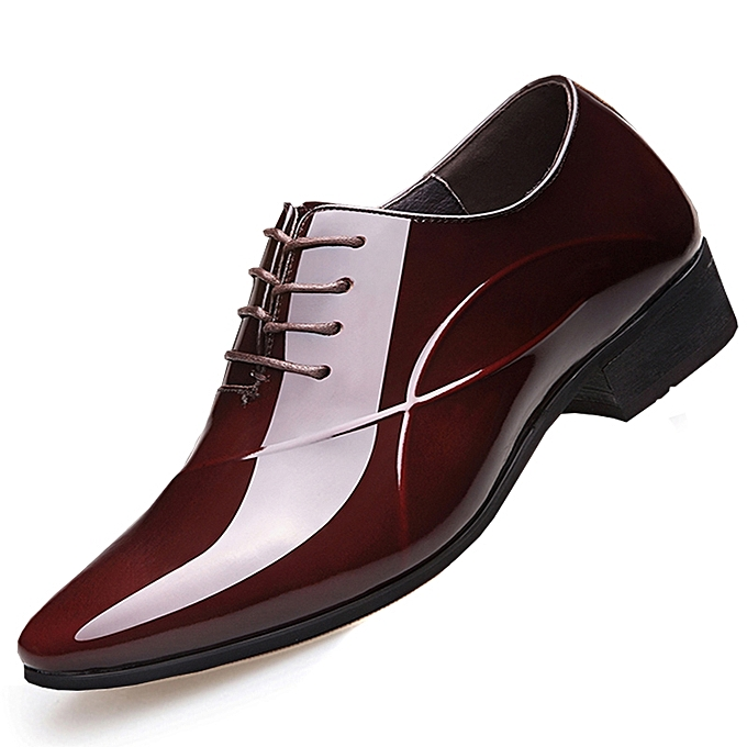 83f9b742eae1ae Tauntte Business Formal Shoes Men Patent Leather Casual Shoes (Brown ...