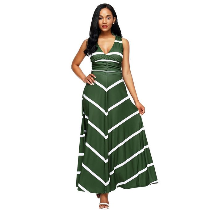GIANNA Olive Green Striped Maxi Dress | Buy online | Jumia Kenya