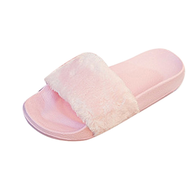 a6f02b8cf Womens Ladies Slip On Sliders Fluffy Faux Fur Flat Slipper Flip Flop Sandal