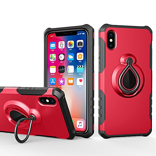 huge discount 6e713 3f5d4 Magnetic Detachable Dropproof Protective Back Cover Case with Raindrop  Shape Ring Holder for iPhone XS Max (Red)