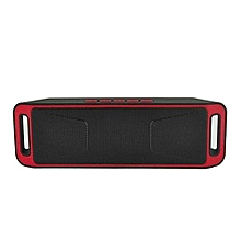 SC-208 Portable Bluetooth Stereo Wireless Speaker Support Handsfree FM Radio AUX USB TF Card Mic for Phone(Red)