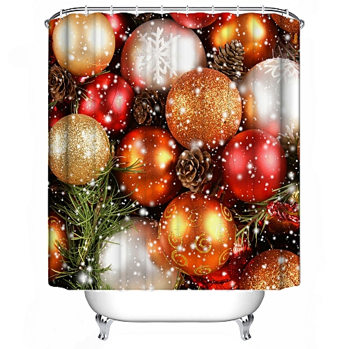 MUYI Christmas Waterproof Polyester Bathroom Shower Curtain Decor With Hooks New G