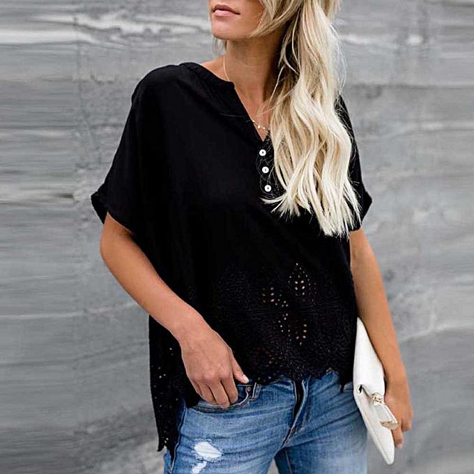 e6479c4faccc72 Hiaojbk Store Women s Chiffon Tops V-neckline Hollow Blouse Short Sleeve  Button Casual Shirts-