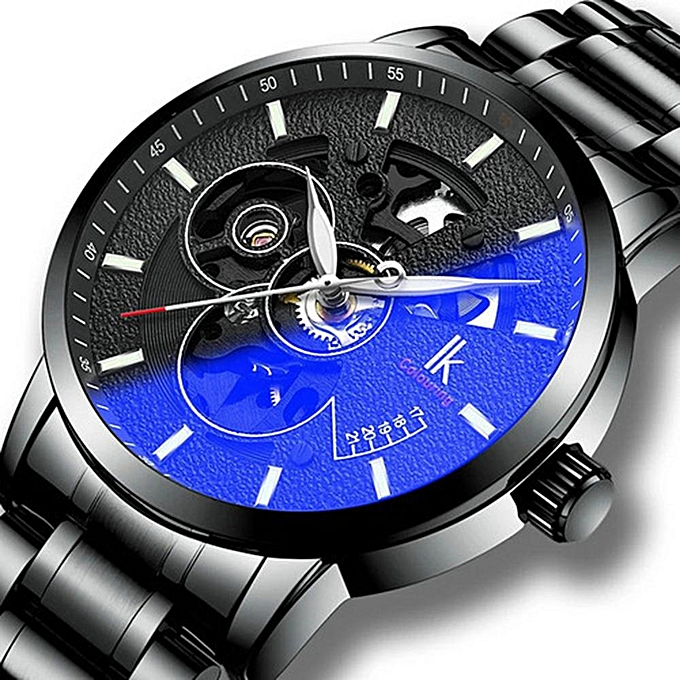 48e0c58d5 IK colouring Automatic Mechanical Skeleton Watches For Men Steampunk Auto  Self-Wind Antique Stainless Steel