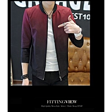 Men's Hot Sale New Fashion Autumn And Winter Men's Gradient Jacket Youth Slim Thin Casual Baseball Coat-red