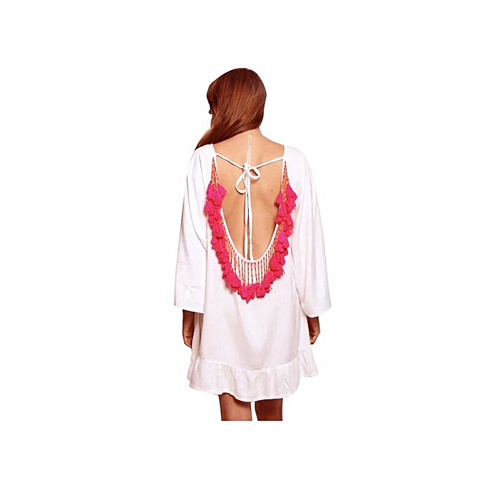 7c4925bfcbcfc Wenrenmok Store Women's Tassels Trim Kaftan Chiffon Swimwear Beach Loose  Bikini Cover Up L-White