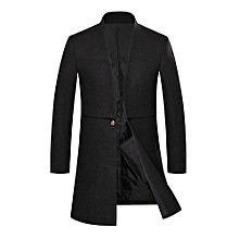 Male Trench Chic Windproof Outdoor Coat - Black