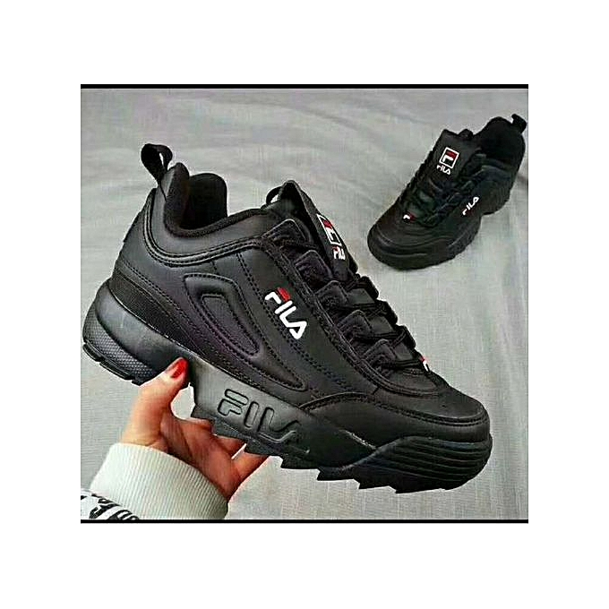 Fashion FILA Sneaker Shoes Unisex Men's&Women's Quality Running Shoes BLACK