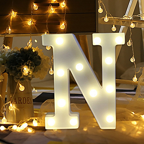 Muyi Alphabet Led Letter Lights Light Up White Plastic Letters Standing Hanging N