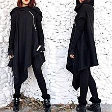 ZANZEA Autumn Long Sleeve Zipper Long Hooded Sweatshirts Loose Casual Women Asymmetric Solid Hoodies Pullover Black