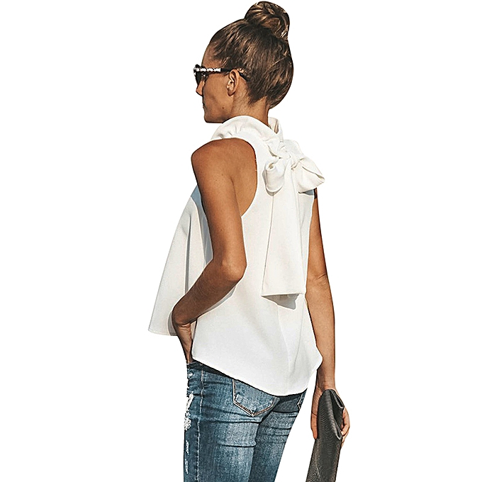 b4b019c3b ... Women Tank Top Solid Color High Neck Ruffle Sleeveless Bandage Tie Bow  Loose Casual Blouse Vest ...