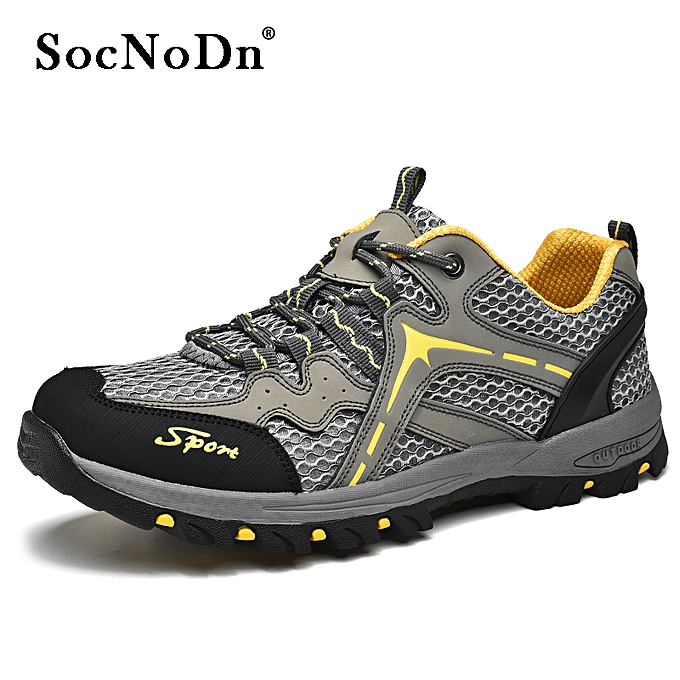 0fc42e0a28c Men Casual Leather Breathable Hiking Boots Shoes Grey