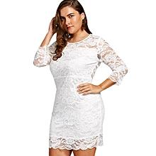Women High Waist Lace Bodycon Dress - White