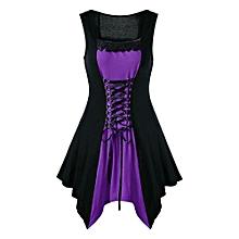 Women Lace Trim Lace Up Dress - Purple
