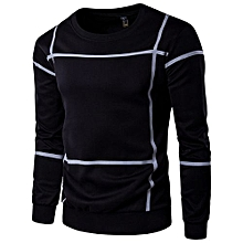 Fashion Striped Long Sleeve Men Pullover Coat  O Neck Sweater Outwear