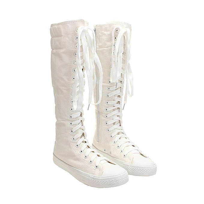 6828977d1b2 ... Punk Women Canvas Sneakers Tall Mid Calf Lace up Knee High Boots Zip  Flat Shoes ...