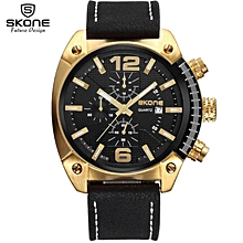 SKONE Men Fashion Casual Sports Watches Mens Quartz Date Clock Man Leather Strap Army Military Wrist Watch Relogio Masculino (Black) BDZ