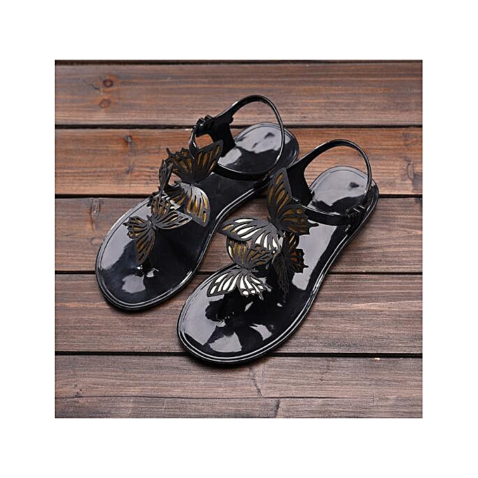 c04b09521b65b7 Women s Summer Butterfly Sandals Soft Jelly Shoes Casual Beach Flats Flip  Flops ...