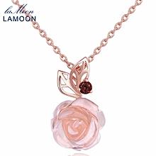 LAMOON 9mm 100% Natural Pink Rose Quartz Necklace Flower Pendant Necklace Rose Golden