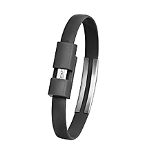 bluerdream-Wristband Micro USB Cable Charger Charging Data Sync For Cell Phone -Black