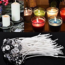 100x  Candle Wicks Cotton Core Pre Waxed With Sustainers Candle Making