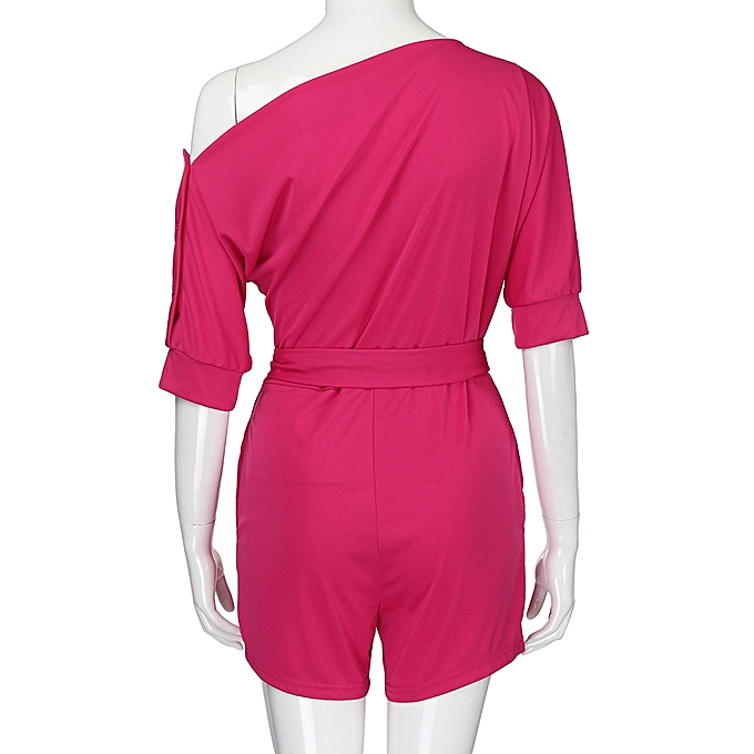 44af1894f07 ... jiuhap store Women s Sexy Off Shoulder Ruffle Short Romper Fashion Casual  Jumpsuit -Hot Pink