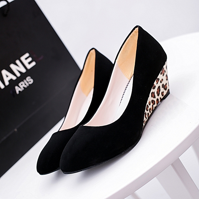 e94b8ade1f99 ... Women Wedges Pumps Korean Flock Shallow Casual Shoes Plus Size (Black)  ...
