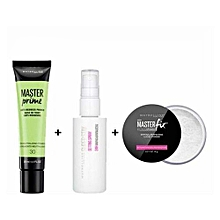 24 hr setting spray + Maybelline Master Studio Fix Loose Translucent Powder + Maybelline Master Prime Perfecting 30 Anti - Redness