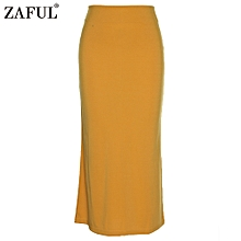 Sexy Pencil Ankle-Length Long Beach Party Slim Flare Skirts - Yellow