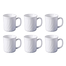 Trianon White 290 ml Porcelain Coffee Mug Cups, Set of 6 .