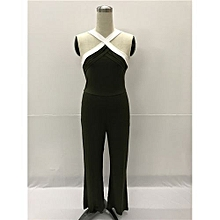 New Fashion Halter Long Jumpsuits Cross Sleeveless Bodycon Rompers Catsuits Playsuits-green
