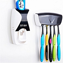 Automatic Toothpaste Dispenser Set with 5 Toothbrush Holder(Black)