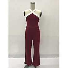 High Fashion Halter Long Jumpsuits Cross Sleeveless Bodycon Rompers Catsuits Playsuits-red