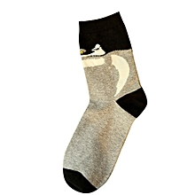 Fohting 1Pairs Women Comfortable Sock Slippers Printing Invisible Socks GY -Gray